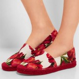 Women's Red and White Round Toe Floral Comfortable Flats