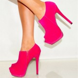Women's Rose Red Peep Toe Heels Stiletto Ankle Booties