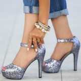 Women's Silver Dazzling Chunky Heels Dress Shoes Platform Ankle Strap Sandals