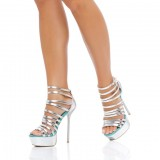 Women's Silver Strappy Sandals Stiletto Heels Platform Sandals