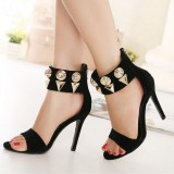 Black Ankle Strap Sandals Metal Open Toe Suede Stiletto Heels