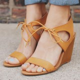 Mustard Wedge Sandals Lace up Open Toe Shoes