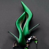 Green Evening Shoes Pointy Toe Satin Stiletto Heel Pumps Prom Shoes