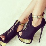 Black and Gold Lace up Heels Ankle Strap Stiletto Heels Ankle Booties
