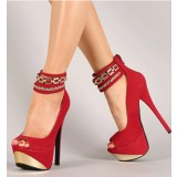 Coral Red Metal Ankle Strap Stiletto Heel Stripper Shoes