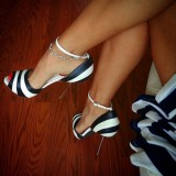 Black and White Stiletto Heels Dress Shoes Ankle Strap Pumps