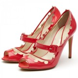Women's Red Peep Toe mary Jane Shoes Peep Toe Stiletto Heels Vintage Shoes