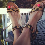 Leopard-print Ankle Buckle Flat Sandals