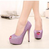 Purple Sparkly Heels Peep Toe Platform Glitter Stilettos Pumps