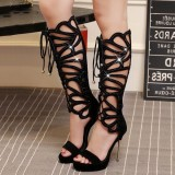 Black Gladiator Heels Lace up Stiletto Heel Platform Sexy Shoes