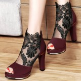 Women's Claret Red Chunky Heels Peep Toe Lace Sexy Ankle Booties