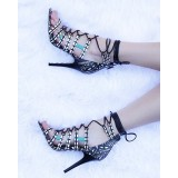 Black and White Strappy Sandals Lace up Open Toe Stiletto Heel Sandals