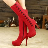 Coral Red Buttons Stiletto Boots Platform Mid-calf Boots