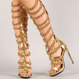 Gold Gladiator Sandals Open Toe Metal Chains Knee-high Heels