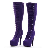 Purple Suede Fashion Boots Agraffe Platform High Heel Sexy Knee Boots