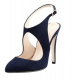 Navy Commuting Slingback Almond Toe Stiletto Heel Sandals
