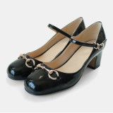 Women's Leila Black Mary Jane Shoes Chunky Heels Vintage Shoes
