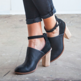 Black Heeled Boots Retro Ankle Strap Chunky Heel Ankle Boots