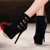 Black Ankle Booties Suede Platform High Heel Shoes Stiletto Boots