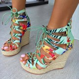 Women's Green Floral  Wedge Sandals Lace up Jungle Platform School Shoes