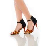 Orange and Black Floral Heels Open Toe Stiletto Heel Sandals