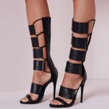 Black Stiletto Heels Strappy Knee High Gladiator Heels Sandals