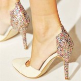 Women's White  Pointed Toe Stiletto Heel Clear Bridal Heels  Pumps Shoes