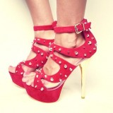 Women's Red Ankle Strap Heels with Rivets Stiletto Heel Stripper Shoes