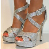 Silver Glitter Shoes Open Toe Sparkly Platform High Heel Sandals