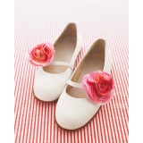 Ivory Wedding Flats Floral Round Toe Cute Shoes for Bridesmaid