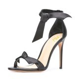 Women's Black Stiletto Heels Dress Shoes Strappy Ankle Strap Sandals with Bow