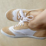 Khaki and White Wingtip Shoes Lace up Flats