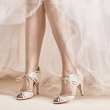 Women's White Hollow Out Lace Up Stiletto Heels Bridal Heels Pumps