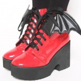 Women's Red Bat Girl Platform Block Heel Lace Up Ankle Boots for Halloween
