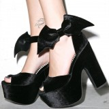 Black Velvet Heels Batman Peep Toe Platform Sandals for Halloween