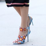 Wonder Woman Blue Star Stiletto Heel Ankle Strap Sandals