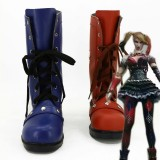 Harley Quinn Lace up Boots Blue and Orange Mid-calf Boots
