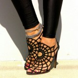 Women's Spider Man Black Web Slingback Heels Sandals for Halloween