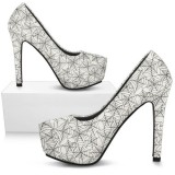 Women's Grey Spider Man Web Floral Platform Heels Pumps for Halloween