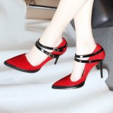 Women's Vampire Red Pointy Toe Suede Double Ankle Strap Pumps for Halloween