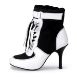 Harley Quinn Lace up Boots Black and White Ankle Booties for Halloween