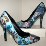 Women's Alice In Wonderland Cyan Stiletto Heels Pumps for 2017 Halloween