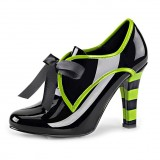 Women's Black Witch Costumes Halloween Bow Green Chunky Heel Boots