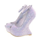 Silver Wedding Rhinestone Shoes Glitter Ankle Strap Heels Peep Toe Pumps With Platform