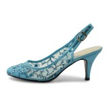 Light Blue Lace Heels Slingback Shoes Kitten Heel Pumps