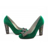 Women's Green Suede Colorful Glitter Bow Chunky Heels Pumps