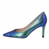 Ariel Green Gradient Stiletto Heels Pointy Toe Python Pumps