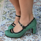 Women's Green Mary Jane Shoes Vintage Chunky Heels Pumps