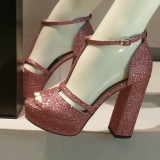Chunky Heels Peep Toe Glitter Platform Ankle Strap Sandals