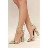 Beige Strappy Sandals Floral Suede Closed Toe Block Heels